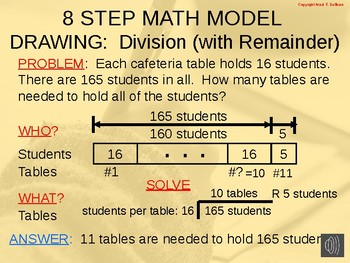 Lesson:  8 Step Math Model Drawing:  Division With Remainder (Example)