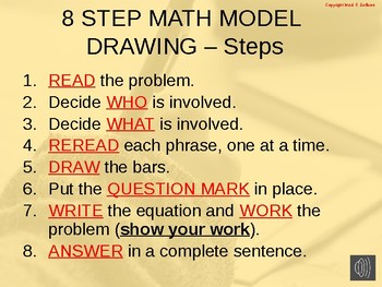 Lesson:  8 Step Math Model Drawing:  Multiplication (Example)