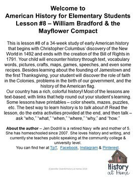 Lesson 8: William Bradford/Mayflower Compact (Early American History/34 lessons)