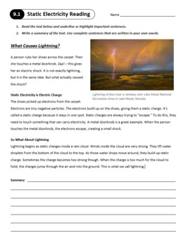 Lesson 9.1 - Static Electricity