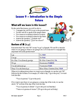 Lesson 9 - Introduction to the Simple Future (SPANISH BASICS)