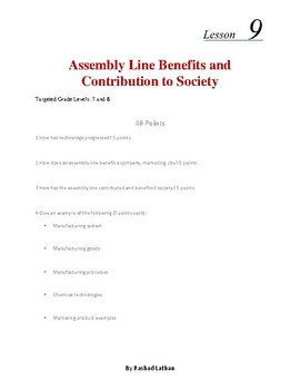 Lesson 9 - Assembly Line benefits and contributions to society