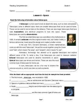 Reading G4-5 - Lesson 9: Space