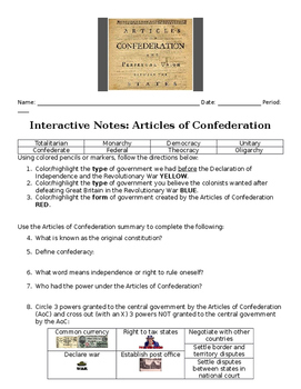 Lesson--Articles of Confederation