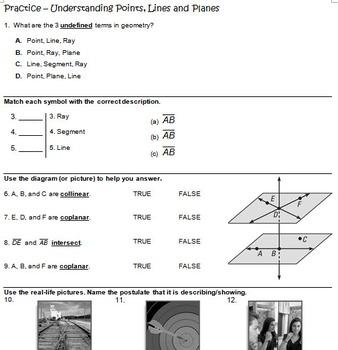 Lesson Bundle: Points, Lines, and Planes