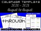 Calendar Template 2017 - 2018 - Back to School Essential