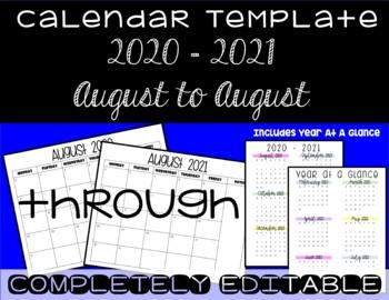 Calendar Template 2016 - 2017 - Back to School Essential