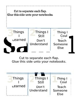 Lesson Checkpoint Foldable