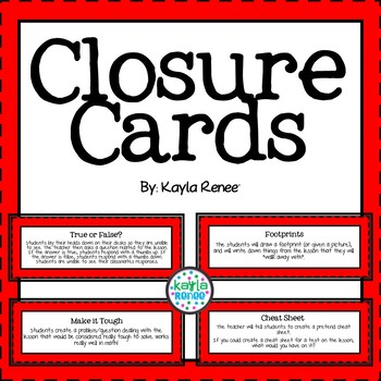 Formative Assessment/ Lesson Closure Cards in Red