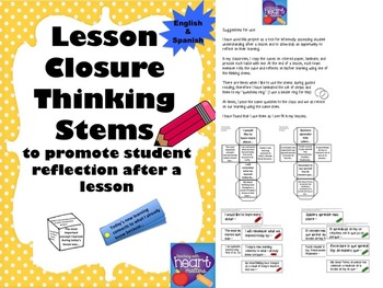 Lesson Closure Thinking Stems (English and Spanish)
