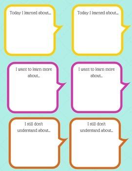 Lesson Comprehension Stickers: Building Metacognition