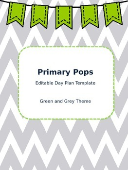 Lesson Day Plan Template (Green and Grey Theme!)