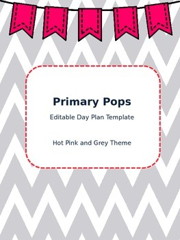 Lesson Day Plan Template (Hot Pink and Grey Theme!)
