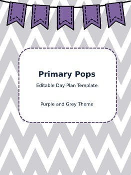 Lesson Day Plan Template (Purple and Grey Theme!)
