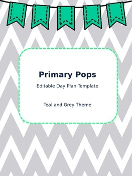 Lesson Day Plan Template (Teal and Grey Theme!)