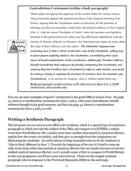 Lesson Eight--Writing a Full-length DBQ from the APUSH Writing and Skills HB