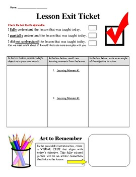 Lesson Exit Ticket (Multi-Subject Use)