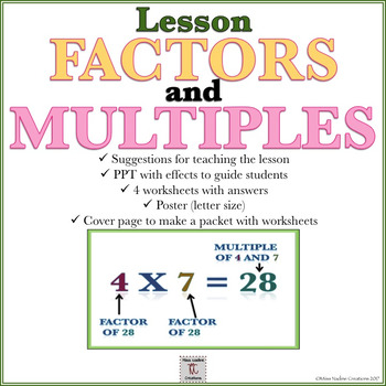 Lesson:Factors and Multiples- PPT, Handouts,Poster, teaching notes