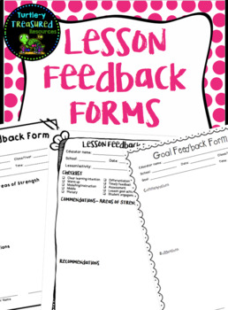 Lesson Feedback Form - Mentor Teachers or Supervisors