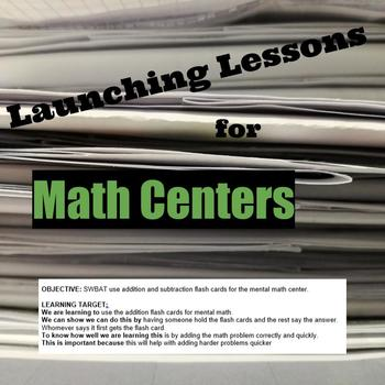 Lesson For Launching Math Centers