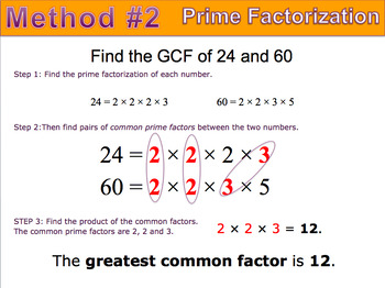 Lesson: GCF (three methods to finding) - PPT, Handouts, Exit Ticket,