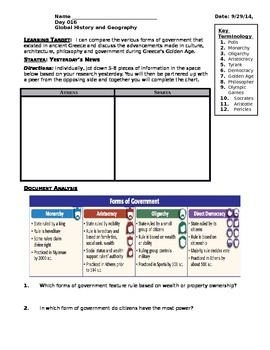 Day 013_Forms of Government and Golden Age of Greece DBQ - Lesson Handout