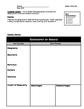 Day 011_Geography of Greece - Lesson Handout