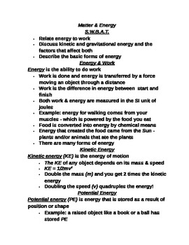 "Lesson I Student PowerPoint Note Guide ""Energy and Its Forms"""