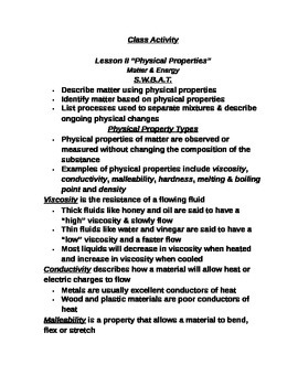 """Lesson II Student PowerPoint Note Guide """"Physical Properties"""""""