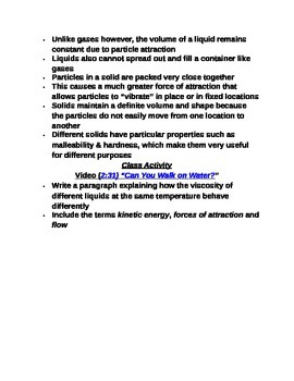 """Lesson I Student PowerPoint Note Guide """"Solids, Liquids & Gases"""""""