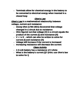 "Lesson II Student PowerPoint Note Guide ""Electric Current & Ohm's Law"""