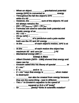 """Lesson II Student PowerPoint Note Guide """"Energy Conversions & Conservation"""""""
