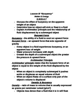 """Lesson III Student PowerPoint Note Guide """"Buoyancy"""""""