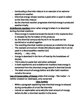 "Lesson III Student PowerPoint Note Guide ""Energy Changes in Reactions"""