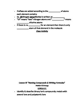 """Lesson III Student PowerPoint Note Guide """"Naming & Writing Chemical Formulas"""""""