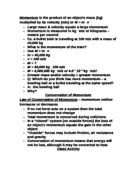 "Lesson III Student PowerPoint Note Guide ""Newton's Third Law & Momentum"""