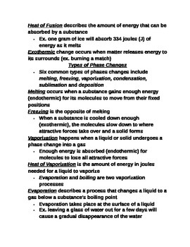 """Lesson III Student PowerPoint Note Guide """"Phase Changes"""""""