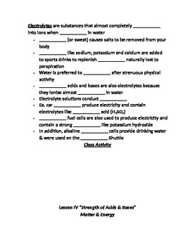 """Lesson IV Student PowerPoint Note Guide """"Strength of Acids & Bases"""""""