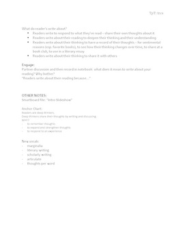 Lesson: Intro to Writing About Reading (Reading Journal - Reading Notebook)
