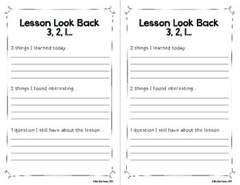 Lesson Look Back Exit Slip