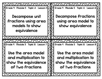 Lesson Objective Cards for NYS Math Grade 4 Module 5