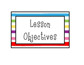 Lesson Objective Signs