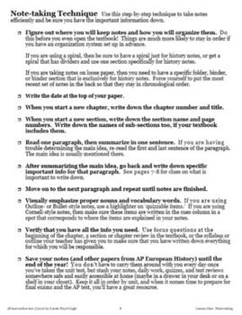 Lesson One--Notetaking from AP European History Writing and Skills Handbook