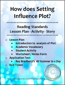 """How Setting Influences Plot """"All Summer in a Day"""" Lesson Plan & Activity"""