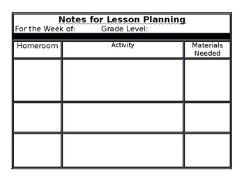 Lesson Planning Support Documents