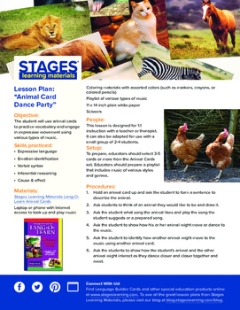 Lesson Plan: Animal Cards Dance Party