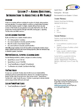Lesson Plan - Asking Questions, Adjectives & My Family (Lesson 7)