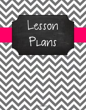{Lesson Plan Binder Cover Freebie} Gray Chevron Chalkboard with Pink Ribbon