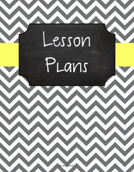 {Lesson Plan Binder Cover Freebie} Gray Chevron Chalkboard Butter Yellow Ribbon