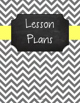 {Lesson Plan Binder Cover Freebie} Gray Chevron Chalkboard Butter Yellow Ribbon